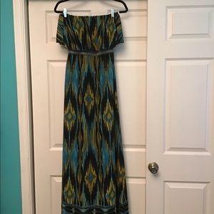 Flame stitch Pattern Maxi Dress
